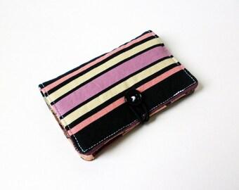 Purple Black Stripes Fabric Business Card Holder, with Plum Garden Blossom Swirl- Credit Card Holder, Cloth Card Holder, Gift Card Holder