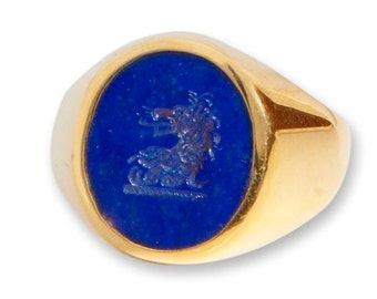 Lapis Ring Lion Family Crest Regnas Signet Gold Plated Sterling Silver 925
