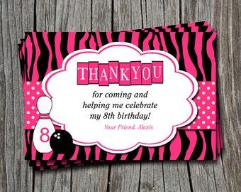Custom Bowling Zebra Print Thank You Invitation Card   - Any Color