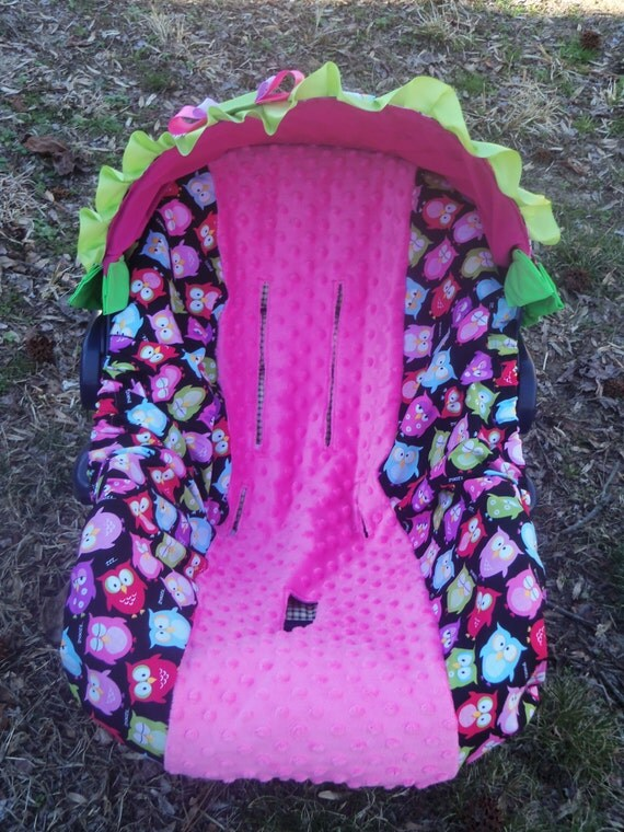Owl Pink Lime Minky Baby Car Seat Cover Infant Seat Cover Slip
