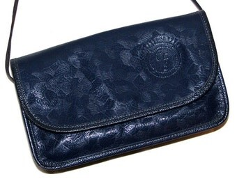 Vintage 80s CARLOS FALCHI Dark Blue Textured Leather Clutch Purse w/ Embossed Details