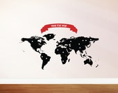 Map Wall Sticker/ Decals with FREE TEXT BANNER and 120 marker dots (map size 130cm x 60cm)