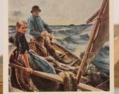 Finnish art. Painting At Sea by Finish artist  Albert Gustaf Aristides Edelfelt. Russian vintage postcard. Made in USSR.