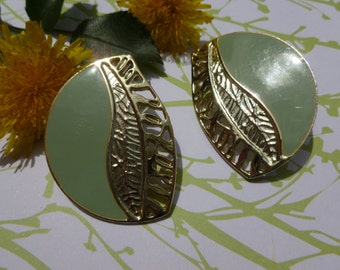 Large Soft Mint Green and Gold pierced Earrings.