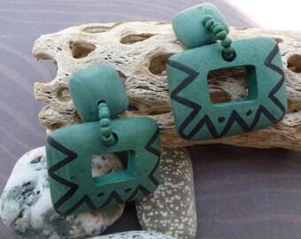 Southwestern Green Pierced Earrings.