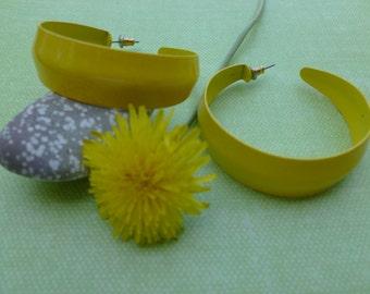 Large Yellow Hoop Pierced Earrings.