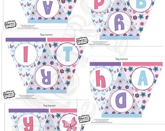 Spring, Butterfly Birthday Banner