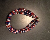 Red, White and Blue Three Strand Beaded Bracelet