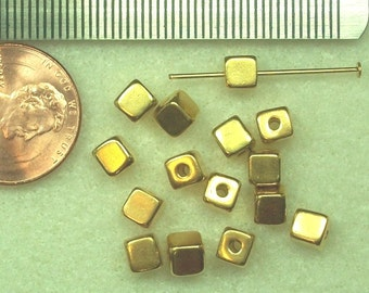 PRICE DROP - Pewter -Tierracast -  gold plated, cube beads P324