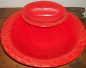 RESERVED for Michelle Reif Brilliant Orange Holland Pottery Serving Bowl with Hanging Side Bowl Chips and Dip