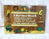 Vintage Wooden Souvenir Plaque Sign A Nervous Wreck Funny Saying North Vernon Indiana