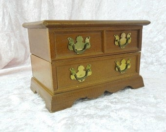 Vintage Jewelry Box Chest with Music Box Chippendale Style Made by Crown Jewel in Japan