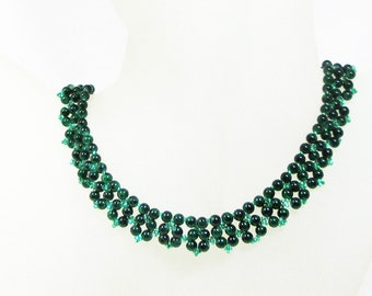 Emerald Green Right Angle Weave Necklace