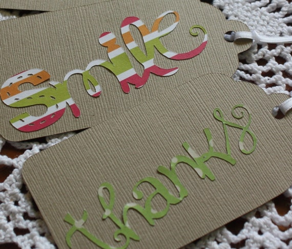 Large Khaki Gift Tags I Love You Smile Friends Thanks