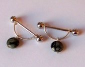 Nipple Barbells - ONE or a SET of 2 - Body Piercing - Barbell - Nipple Piercing - Sterling Silver and Picasso Serpentine