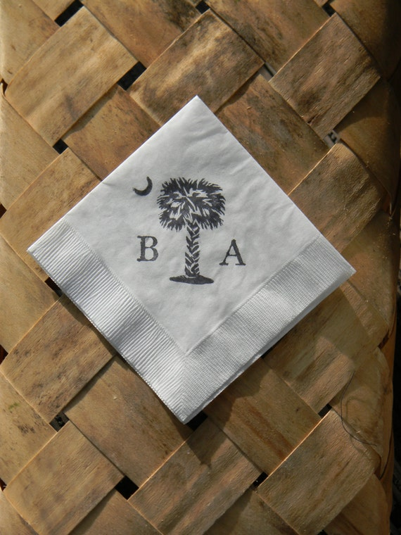 Personalized Palmetto Moon Large Initials Wedding Paper Cocktail Napkins South Carolina State Flag - Set of 50