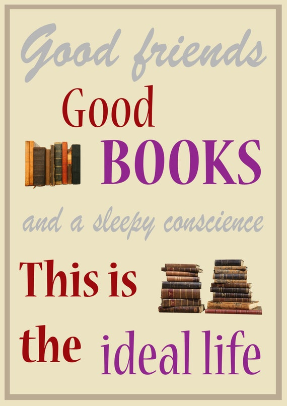 Typographic Book Cover Quote : Mark twain good books quote typography word art print