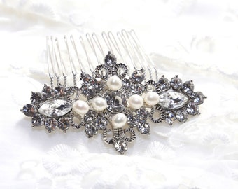 Vintage Style Rhombus Hair Comb, Rhinestone Crystals Freshwater Pearls Hair Comb, Bridal Hair Comb, Wedding Hair Comb, Hair Accessory,Brooch