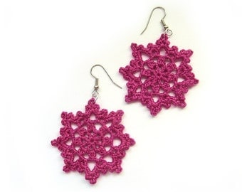 Pink Lace Star Flower Dangle Earrings - Magenta Fuchsia Egyptian Cotton - Crochet Summer Fashion Boho Hippie Statement