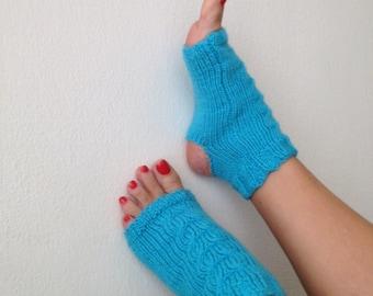 Turquoise toeless yoga socks ,socks,pilates,flip flops,sandals,home slippers