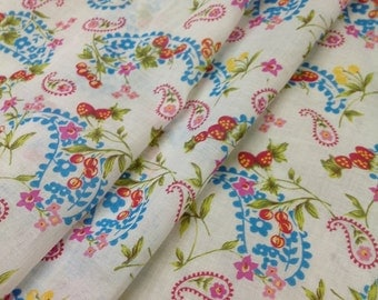 """56"""" Width-  Paisley with Cherries and Strawberries Printed Cotton Woven Fabric"""