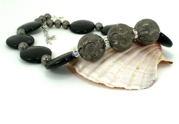 Semi Precious stone Hyperstene  Statement Choker Necklace One of a Kind Handmade Jewelry (1620)