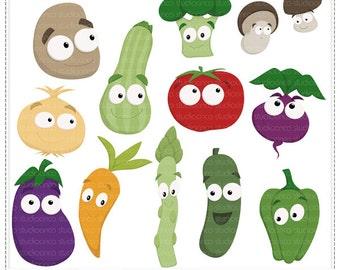 Veggies - Digital Clip Art , Commercial Use Clipart, Scrapbook, Printable - Instant Download