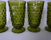 Vintage Green Glass Water Ice Tea Goblets Indiana Glass Whitehall Pattern -Set of 4