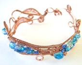 Copper Wire Wrapped Bracelet, Wire Bangles, Wire Wrapped Jewelry, Beaded Bracelet, Blue Jewelry