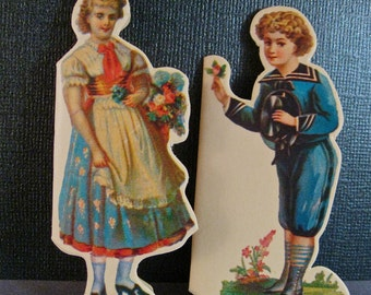 Vintage Victoriana Gift Tags Figural Di-Cut Girl and Boy with Flowers, Unused 1980 Girl in Dirndle, Boy in Sailor Suit