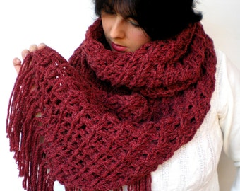 Lace Star Bordeaux Scarf Alpaca  Wool Big  Neckwarmer Women Fashion  Chunky  Knit  Scarf NEW