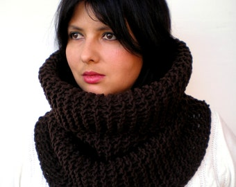 Chocolate Brown  Classic  Cowl Super Soft  Neckwarmer Women / Men Chunky Mixed Cashmere Cowl
