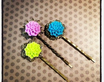 Set of 3...Lime Green, Purple and Blue Cabochon Bobby Pins...Hairclips...Girls Hairbows...Clips