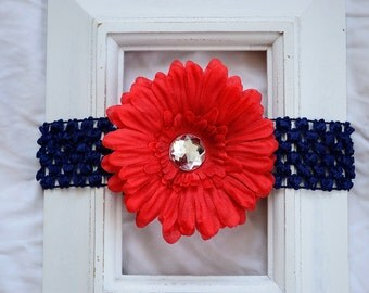 FREE SHIPPING in the U.S. - Navy Blue Crochet Elastic Headband with Removable Red Daisy Flower Hair Clip - Baby, Toddler, Little Girl, Gift