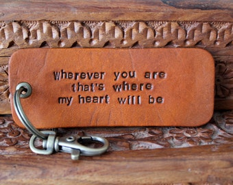 Custom Leather Key Fob - Key Ring - Keychain - Choose your own text- Father's Day - Dad