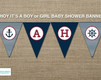 Nautical Printable - Nautical Baby Shower - Nautical Banner - Ahoy - Anchor - Nautical Birthday - Navy - Stripes