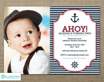 Nautical Invitation - Nautical Printable - First Birthday Invitation - Boy Invitation - Ahoy Invitation - Navy Invitation - Anchor