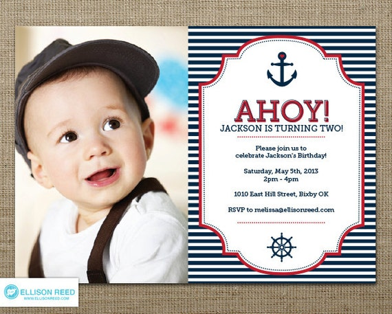 Nautical Invitation Nautical Printable First Birthday