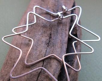 Jewish Star Hoop Earrings - Sterling Silver Magen David Shaped Hoops - Star of David earrings / Geometric Fashion earrings / Jewish Jewelry