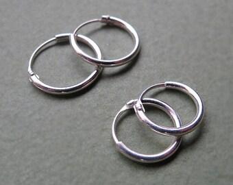 Sterling Silver Hoop Huggie Earrings 10mm / 12mm - Small Hinged Hoops for Men / Women, 7mm Hoops / Cartilage / Helix / Medium Hoops