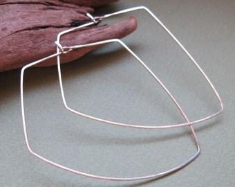 2 inch Geometric Hoop Earrings - Freeform Sterling Silver Hoops -  Modern Contemporary Jewelry - Geometric Earrings - Modern Jewelry