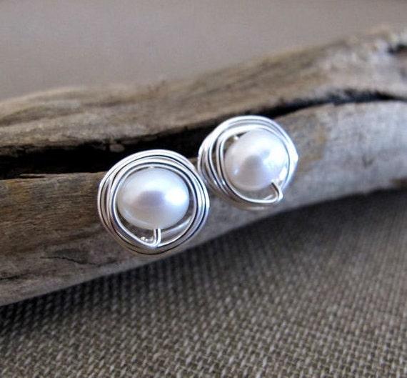 Freshwater Pearl Stud Earrings - Sterling Silver Wire Swapped Pearl Post Earrings - Delicate Earrings / Minimalist Jewelry / Pearls Studs