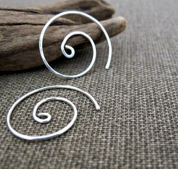 Sterling Silver Spiral Hoop Earrings. Small Modern Swirl Earrings. Minimal Elegance Earring. Handmade Jewelry - Swirl Hoops - Silver Jewelry