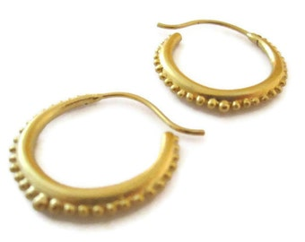 18K Vermeil Gold Hoop Earrings Medium Gold Hoops Granulated Jewelry, Artisan Handmade by Sheri Beryl