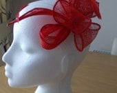 Red Sinamay and Feather Leaf and Loop Fascinator, Races, Weddings, Prom, Cruise