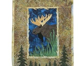 Majestic Moose Batik Quilt Wall Hanging
