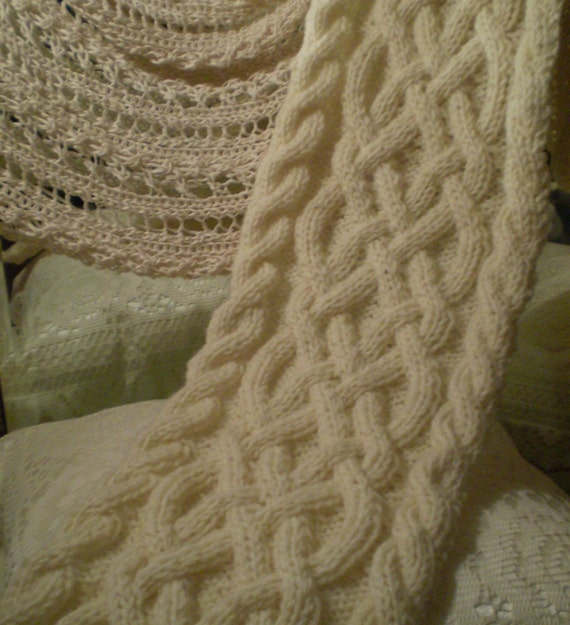Knit Celtic Knot Hat Pattern : Cream Fishermans Wool Celtic Knot/Cable Knit Scarf