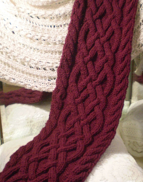 Celtic Knot Scarf Knitting Pattern : Reserved Listing. Celtic Knot Cable Knit Scarf in Burgundy