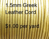 1.5mm Greek Leather Cord, Gold, Yellow