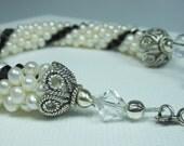 Pearl Bracelet, Bead Crochet Bracelet, Crystal Bracelet, Black and White Bracelet